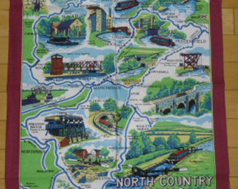 Vintage Towel - Souvenir Towel, North Country Canals, Cotton British Made, Map Towel, Lockmaster Crafts, Landmarks, Bar Towel, Wall Hanging