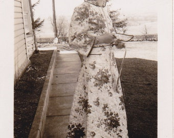 Floral Housecoat- 1940s Vintage Photograph- Woman in Robe- 40s Fashion- Found Photo- Old Picture- Vernacular Photo- Snapshot- Paper Ephemera