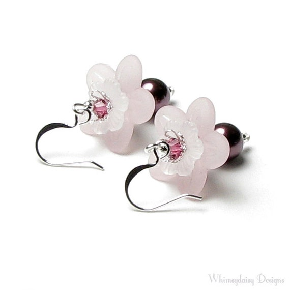 Pink Flower Swarovski Crystal And Wine Pearl Silver Dangle Earrings, Romantic Vintage Burgundy Floral Wedding Jewelry, Mother of the Bride