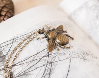Bee Necklace, Bumblebee Pendant, Bronze Bee Charm, Bee Gift, Beekeepers, Bee Lover, Long Bee Pendant