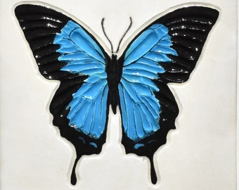 Blue Butterfly Ceramic Tile Swallowtail 4 Inch Stoneware Pottery