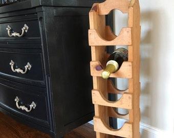 Vintage Wood Wine Rack Floor Standing Wooden Tower Storage Hand Crafted Pine ~ #4103