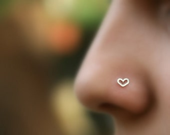 Nose Ring - Nose Piercing - Nose Stud - Tragus Piercing - Cartilage Earring - Helix Piercing - Sterling Silver Valentine Heart