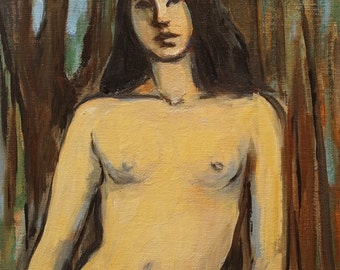 "Original Oil Painting-Female Nude-Figure Drawing-Nude Modle-Banyan Tree-8""x10""-Impressionism-Women Standing-Fine Art Nude-Figurative-Nude"