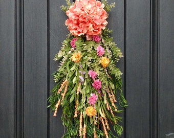 Spring Wreath Summer Wreath Teardrop Vertical Door Swag Decor Peach Hydrangea, Yellow, Pink Floral Door Swag