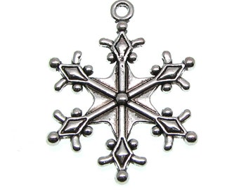 Antique Silver Snowflake Charms / Frozen Snow Winter Charms 29x22mm [Choose 1 piece or 10 pieces] -- Lead, Nickel & Cadmium free 12740 J5E