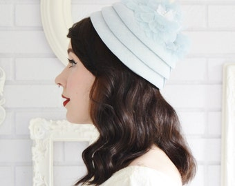 Vintage Pale Blue Hat with Blue and White Flowers
