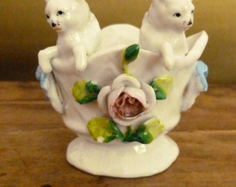 Vintage Porcelain Kitties in a Basket - Pair of White Cats in Basket Collectible