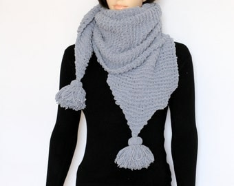 Gray  Scarf Long winter Scarf Hand knit scarf Chunky knitted scarf