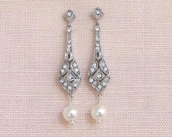 Bridal Earrings, Rose Gold, Vintage Style Pearl Crystal Wedding jewelry, Swarovski pearls, Bridesmaids earrings,  Clara Vintage Earrings