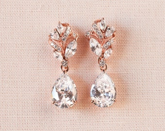 Rose Gold Bridal Earrings, Crystal Wedding Jewelry, Gold Bridal Jewelry, Swarvski, 2 Pairs in 1, Callie Bridal Earrings