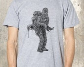 Men's Wandering Wookie T-Shirt - Backpacking Chewbacca  Men's T-Shirt - American Apparel - Men's Small Through 2XL Available