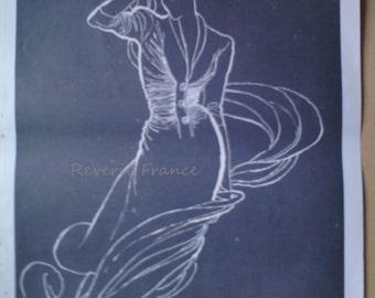 Original Vintage French Fashion Ad Dress Drape Gaine Maggy Rouff 1949  Rene Gruau