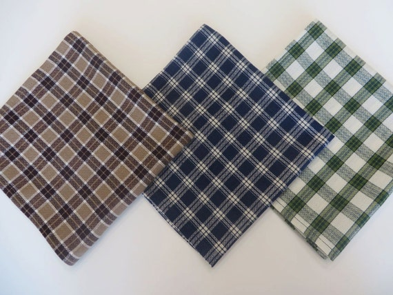 Mens Handkerchief set, Variety set of 3,  1 each:  Blue, Brown, and Green plaid, soft  cotton fabric, pocket squares,  Handmade in the USA