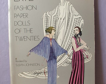 Vintage Erte Fashion Paper Dolls of the Twenties book, 1920's French fashion, French dress, art deco fashion, Paper Dolls book, French hats