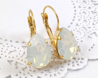 White Opal Earrings - Swarovski Crystal White Opal Teardrop Earrings - Nickel Free Gold Plated Earrings Christmas Gift
