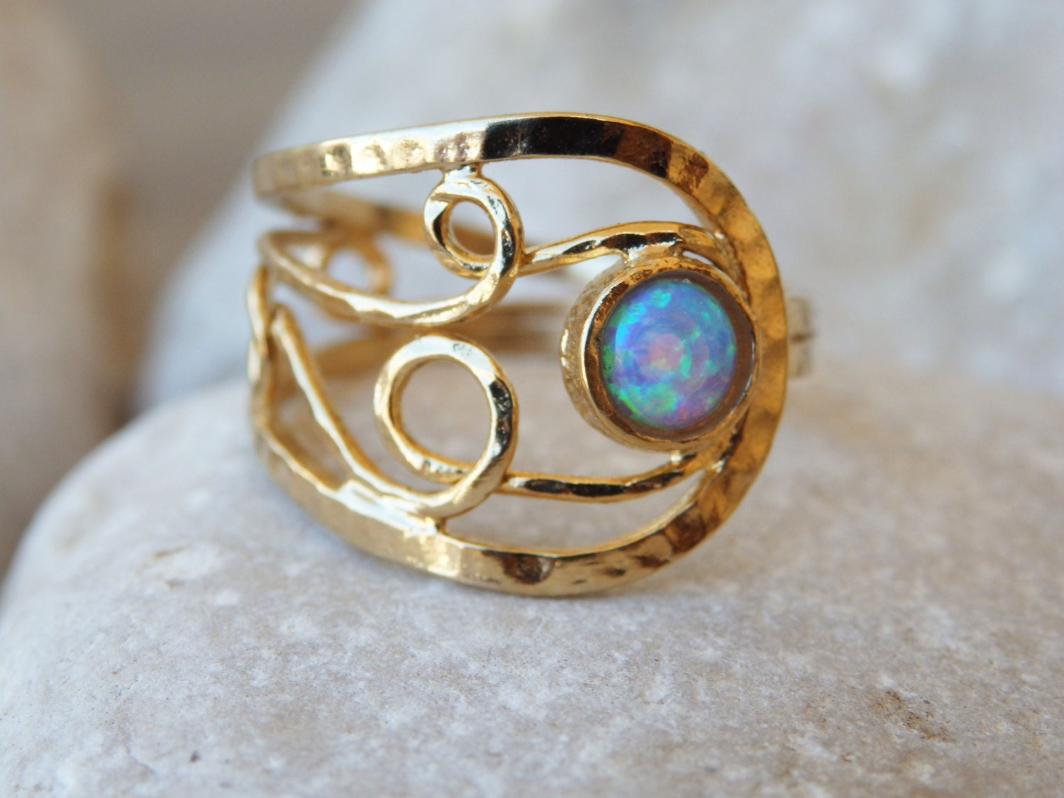 unique opal ring asymmetrical wide opal ring gold opal ring