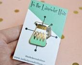 SECONDS SALE -Coffee Carafe Enamel Pin - Pyrex Inspired - Retro Pin - Lapel Pin - Pin Badge - Cloisonne Pin - Hard Enamel