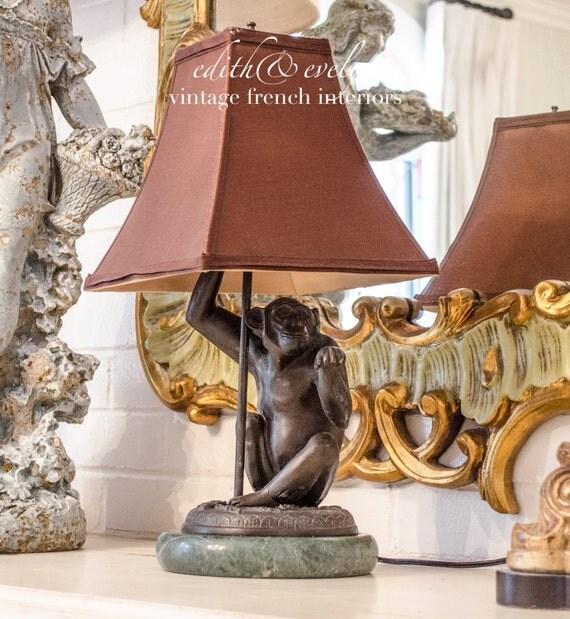 Vintage Bronze Monkey Lamp On Marble Base With Shade