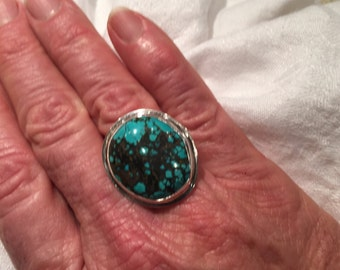 SL098 Sterling Silver and Turquoise Ring.