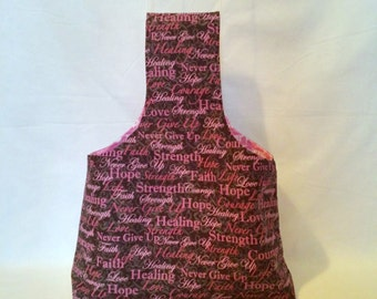 Large Hope, Love and Strength Breast Cancer Awareness Yarn Bag Project Tote S88