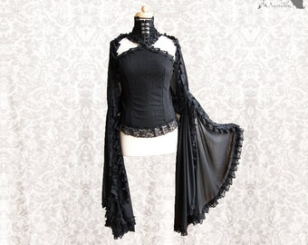 Top Art Nouveau, black romantic goth, off shoulder, fantasy, Idolon, Somnia Romantica, size small medium see item details for measurements