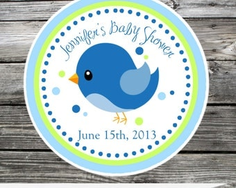 Sweet Tweet, Birdie, Blue Bird, Blue Green, Set of 12 Personalized Favor Tags, Stickers, Thank You Tag, Party Favors, Birthday, Baby Shower