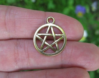10 Defective Pentagram Charms in Dark Gold Tone - C2447