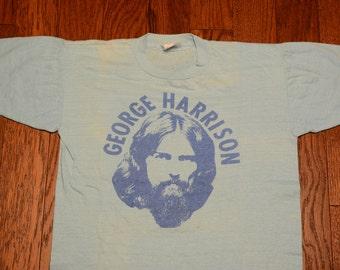 vintage 70s George Harrison t-shirt thin soft tee shirt 1970 Happywear Beatles memorabilia pale blue 100% cotton Pakistan medium M
