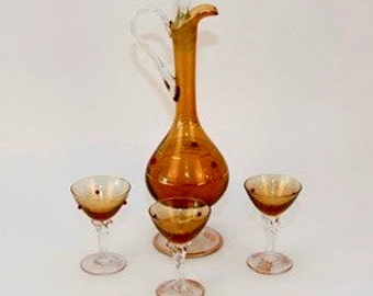Vintage Amber Jeweled Glass Decanter and Matching Cordials Brown Glass Bar Set