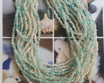 Multi strand aqua & white glass necklace, cased glass necklace, angle cut glass beads, glass tube beads, 1960s necklace, vintage jewelry