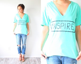 "Vintage turquoise print shirt // ""inspire"" painted shirt // boho teal shirt //  turquoise blue green shirt // v-neck shirt bohemian shirt"