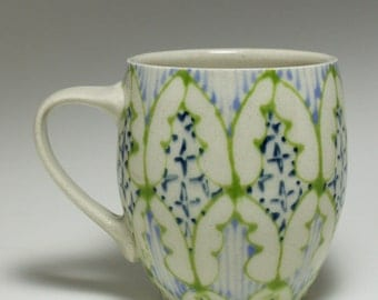 Handmade Wheel Thrown Ceramic  Mug with Green, Sky Blue and Navy Pattern