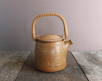 RESERVED FOR JEN: Vintage Stoneware Studio Pottery Teapot / Asian Style Teapot / 1970s Teapot