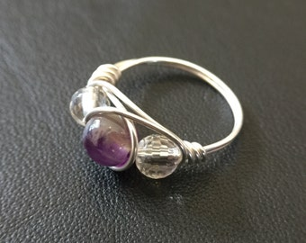 Unique Ring - Wire Wrapped Sterling Silver with Glass Beads