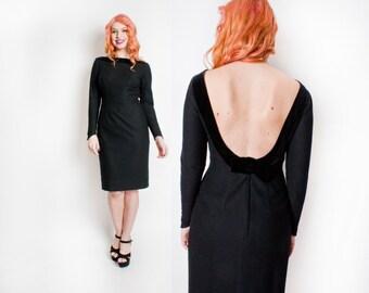 Vintage 1960s Dress - Black Wool Backless Wiggle Party Cocktail Dress 60s - Medium