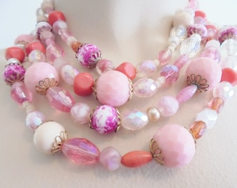 Vintage Rose Quartz Bib Collar Necklace Multi Strand Signed LA ROCO Pink Glass / Lucite Large Chunky Retro Statement Runway