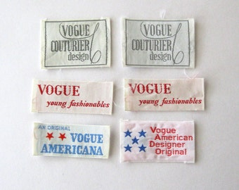 Vintage Vogue Sewing Labels, Sew-In Labels, Clothing Labels, Vogue Couturier, Young Fashionables, American Designer, Americana Vintage,