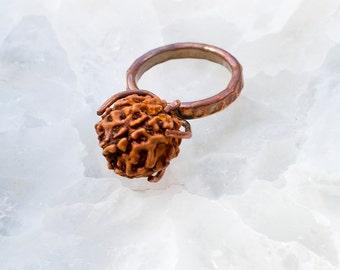 Hammered Copper RUDRAKSHA Seed RING Unique sz 8