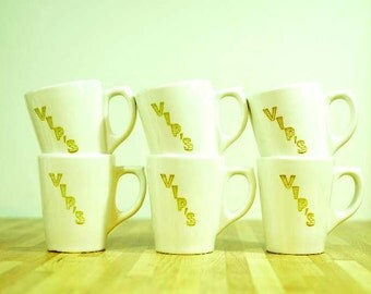 Vintage Buffalo China VIP's Coffee Mugs: Set of Six Restaurantware Diner Mugs