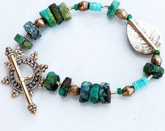 Bohemian Turquoise Bracelet - Sterling Silver Turquoise Bracelet - Leaf Bracelet - Botanical Bracelet