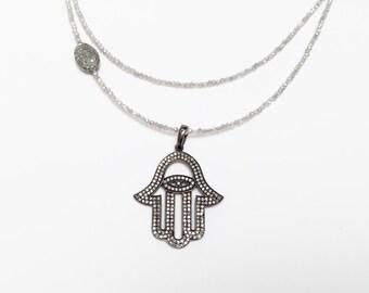 Pave Diamond Hamsa Pendant Necklace with Mystic Labradorite Beads