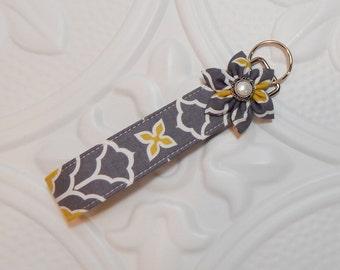 Fabric Key Chain - Key Fob - Teachers Gift - Keychain - Cute Keychain - Wristlet Key Fob - Gray Chartreuse And White