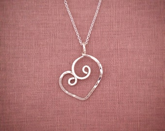 Silver Heart Necklace Sweetheart Spiral Pendant Love