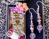 Fancy Pendant and Earring Set (S528) - Vintage Kitty Cat Art Under Resin - Dangle Earrings - Swarovski Crystals and Florals