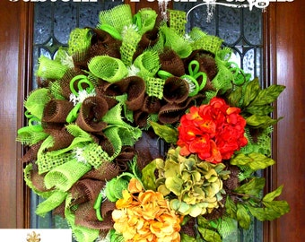 Brown and Green Ruffle Wreath