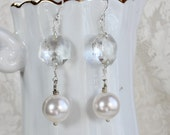 Champagne, anyone?--  Antique Crystal Chandelier and Pearl Drop Earrings- Sterling silver French Wires
