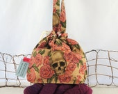 Knitting Bag: OOAK Skull & Roses Drawstring  Project Tote Bag