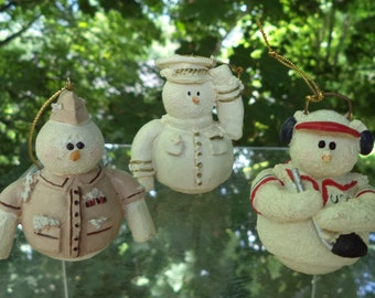 Guy Ornaments Set of Three Vintage Snowmen Soldier, Policeman, and Hockey Player Christmas Ornaments made from Plaster of Paris