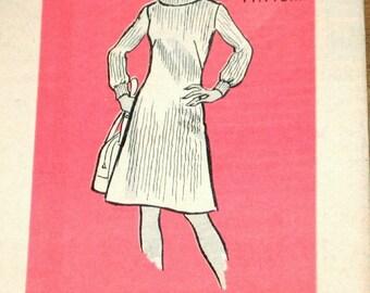 Turtleneck Sheath, A-Line Sweater Dress, Women's Misses Vintage 1970s Mail Order Sewing Pattern 9478 Size 16 Bust 38 Uncut Factory Folds